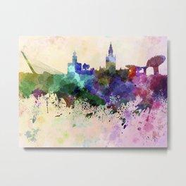 Seville skyline in watercolor background Metal Print