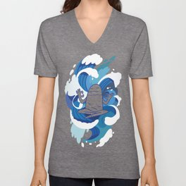 One With The Waves - Ocean, surfing, mindfulness Unisex V-Neck