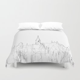 Cork, Ireland Skyline B&W - Thin Line Duvet Cover