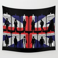 uk Wall Tapestries featuring All 11 doctors UK flag tardis by BomDesignz