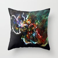 thor Throw Pillows featuring Thor by ururuty