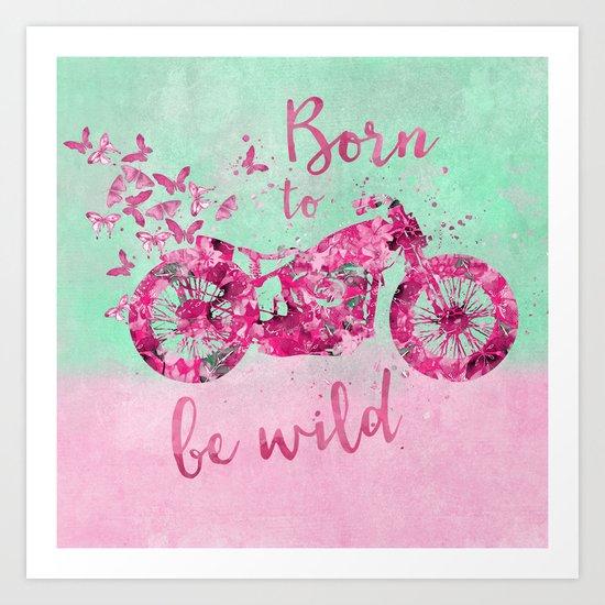 Artsy colorful flower power motorcycle Art Print