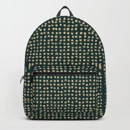 Gold dots on dark green - soft pastel Backpack