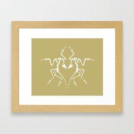 Dinosaur Fossil Ink Blot 2, Mustard Framed Art Print