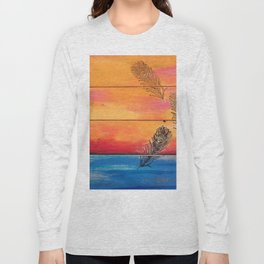 Rising Sun. My Orginal Abstract Painting by Jodilynpaintings. Abstract Sunset With Feathers. Beach Long Sleeve T-shirt