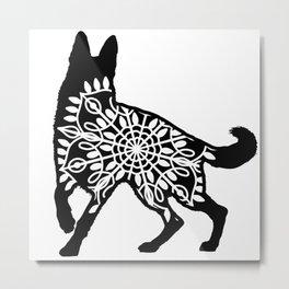 German Shepherd Mandala Metal Print