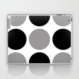 Mid Century Modern Polka Dot Pattern 9 Black and Gray Laptop & iPad Skin