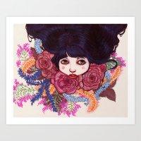 sandra dieckmann Art Prints featuring Sandra by Magali Almada