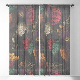 Midnight Hours Dark Vintage Flowers Garden Sheer Curtain