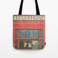 telephone Tote Bags featuring Telephone by Benjamin Robles Art