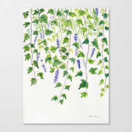 Ivy and Lavender Watercolor Canvas Print