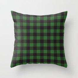 Buffalo Plaid Rustic Lumberjack Green And Black Check Pattern Throw Pillow
