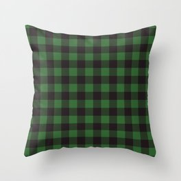 Buffalo Plaid Rustic Lumberjack Green And Black Check Pattern Throw Pillow