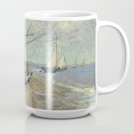 Fishing boats on the beach by Vincent Van Gogh Coffee Mug