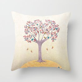 Birds in the Tree Throw Pillow
