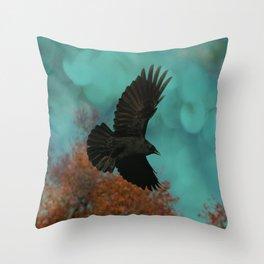 Soaring Crow Throw Pillow