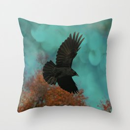 Soaring Crow Throw Pillow