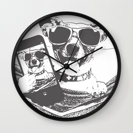 selfie dogs Wall Clock