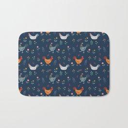 Little Hens (blue) Bath Mat