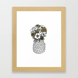 Pineapple Bouquet Gold Framed Art Print