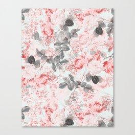 Vintag & Shabby Chic - Living Coral Summer Roses Flower Garden Canvas Print