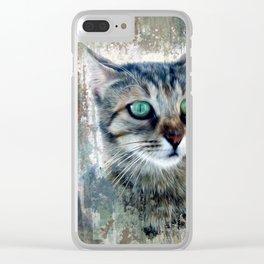 Cat portrait paint Clear iPhone Case