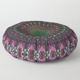 Pink, blue and green digital mandala Floor Pillow