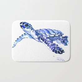 Indigo blue Sea Turtle, swimming turtle blue artwork beach house decor Bath Mat