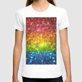 Rainbow Galaxy Stars Pixels T-shirt