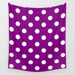 Polka Dots - White on Purple Violet Wall Tapestry