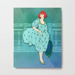 AUDREY: Art Deco Lady in Aqua and Teal Metal Print