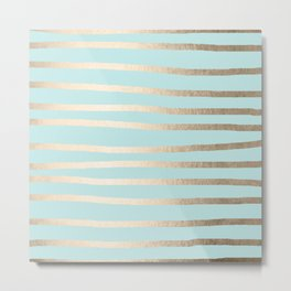 Simply Drawn Stripes White Gold Sands on Succulent Blue Metal Print