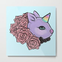 Bunny unicorn Metal Print