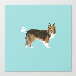 sheltie funny farting dog breed pure breed pet gifts Canvas Print