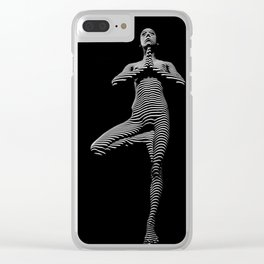 0027-DJA Zebra Standing Nude Woman Yoga Black White Abstract Curves Expressive Lines Slim Fit Girl Clear iPhone Case