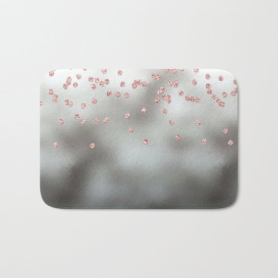Rosegold  pink glitter confetti on silver metal background Bath Mat