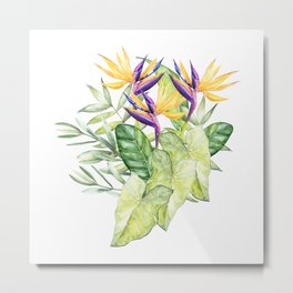 Watercolour Bird-of-Paradise Flowers and Leaves Pattern Metal Print
