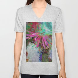 Floral Burst in Pink and Turquoise Unisex V-Neck