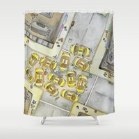 taxi driver Shower Curtains featuring Taxi by M. Noelle Studios