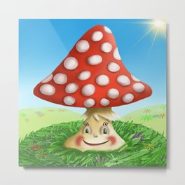 Happy Fly Agaric in the sunny day Metal Print