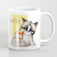 french fries Mugs featuring Selfie with French Fries by stylishbunny