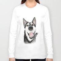 husky Long Sleeve T-shirts featuring husky by Lupita Lopez