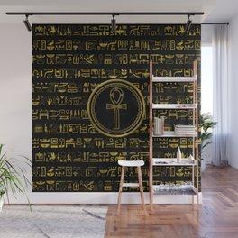Gold Egyptian Ankh Cross symbol Wall Mural