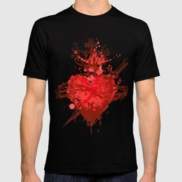 heart in flames wounded by dagger T-shirt