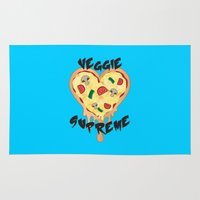 vegetarian Area & Throw Rugs featuring Veggie Supreme - Deluxe Vegetarian Heart Shaped Pizza  by MagicCircle