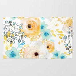 Blue and Yellow Floral Rug