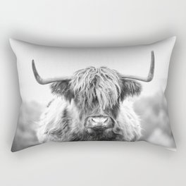 Highland Cow Longhorn in a Field Black and White Rectangular Pillow