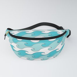 Silver Tipped Waves White Robins Egg Light Teal Seaside Ocean Beach Fanny Pack