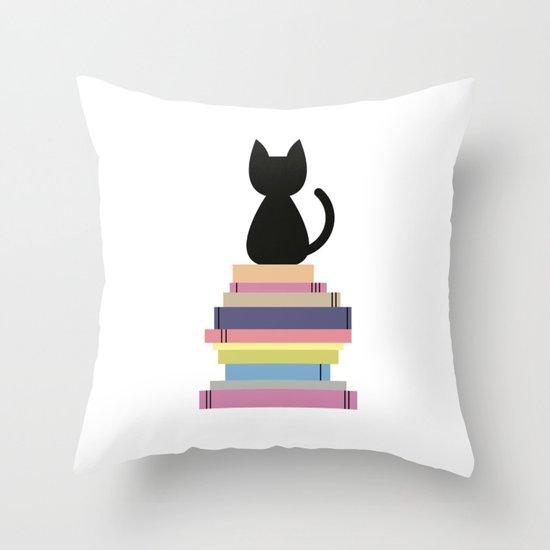 Oreiller chat et livres