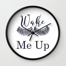 Wake Me Up Closed Sleeping Eyes Navy Blue Eyelashes Wall Clock